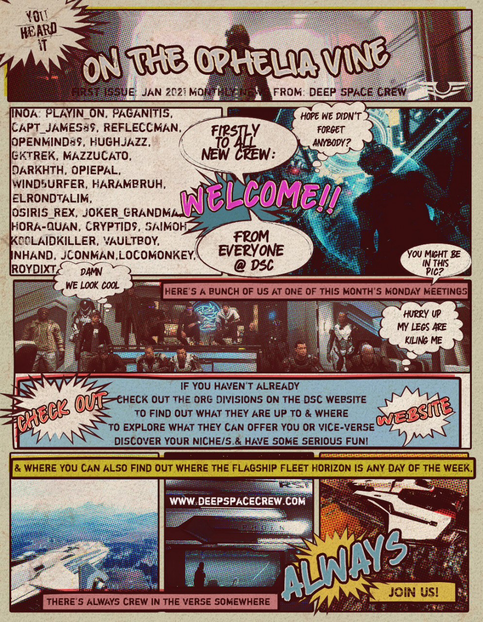 On The Ophelia Vine - Monthly News Strip from DSC - 1st Issue